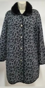 Anne Klein XL Long Cardigan Sweater Leopard